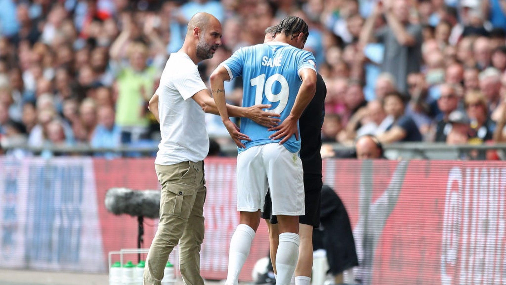 CONCERN: Leroy Sane makes for the tunnel.