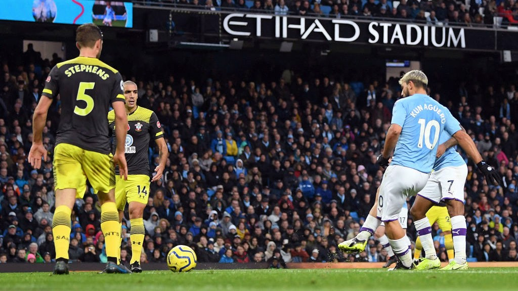 FINALLY: Aguero finds space in the box and strokes in the equaliser with 20 minutes remaining