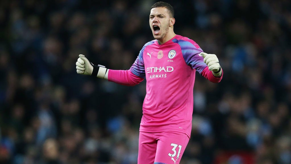 ALL OVER: Ederson celebrates as the referee blows the full-time whistle.