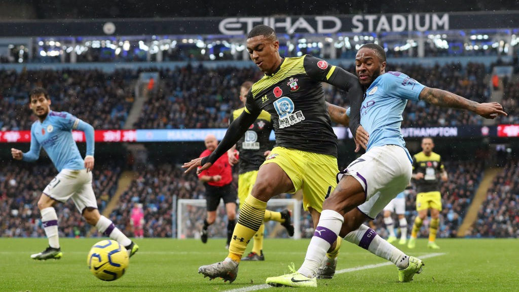 BATTLE: _Sterling looks to breach a rigid Southampton defence_