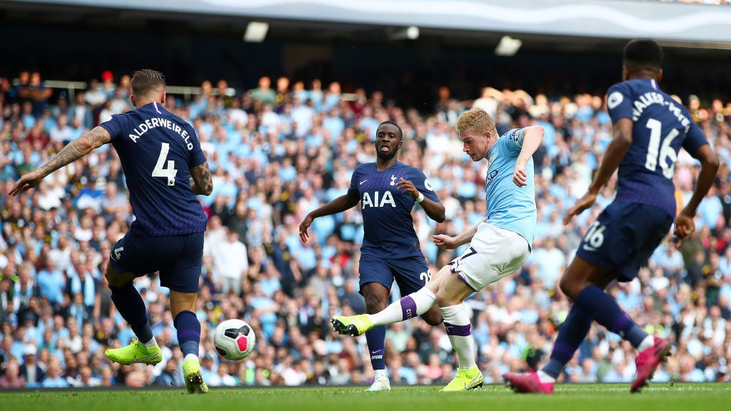 PROBING: Kevin de Bruyne looks for City's third.