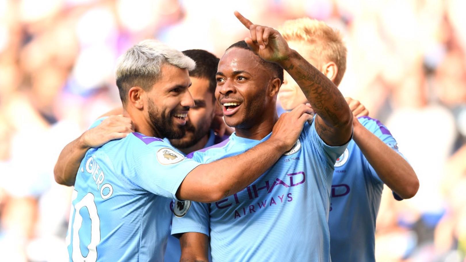 DELIGHT: City's players celebrate Raheem Sterling's opener.