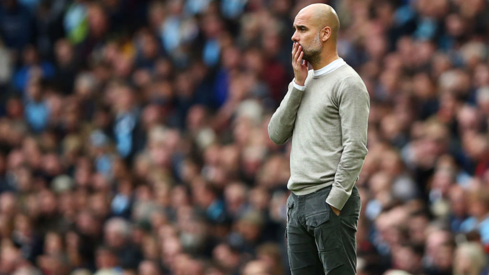 PONDEROUS PEP: The boss looks on in the second period.