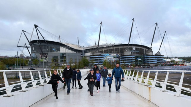 CALM BEFORE THE STORM: Dull clouds loom above the Etihad Stadium ahead of kick off