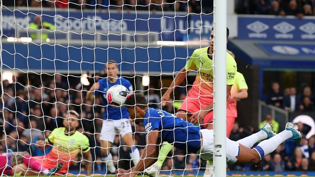 ALL SQUARE: Seamus Coleman lifts the ball over Ederson - Dominic Calvert-Lewin was later credited with the final touch