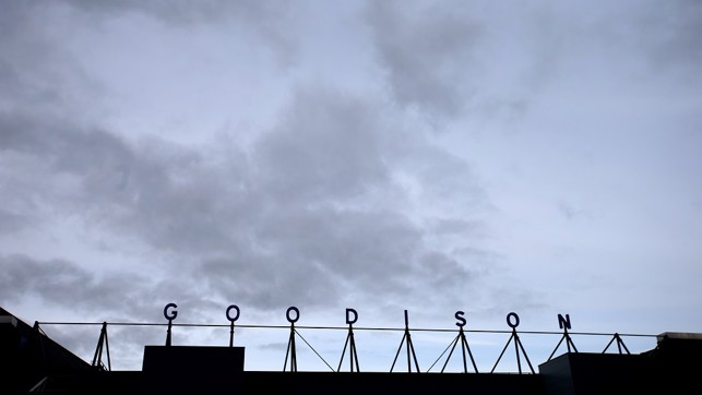 MOODY BLUES: Foreboding skies over Goodison