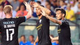 LEADING BY EXAMPLE: David Silva celebrates his opener with Leroy Sane and Kevin De Bruyne