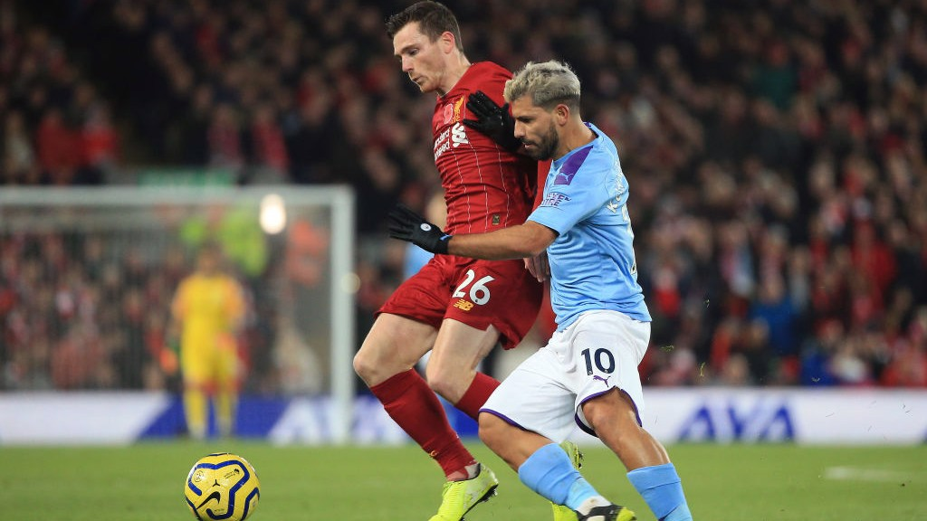 PRESSURE:  A battling Sergio Aguero tries to get City back in the game following Mohamed Salah's goal to put the hosts two up.