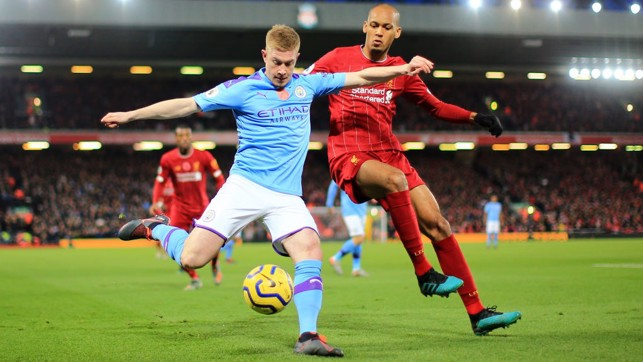 WING PLAY: Kevin De Bruyne whips one in under pressure from Fabinho.