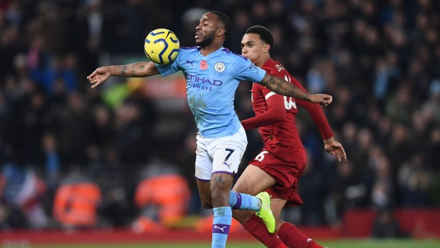 ALL OUT: Raheem Sterling takes the ball as City continued to push for a way back into the game.