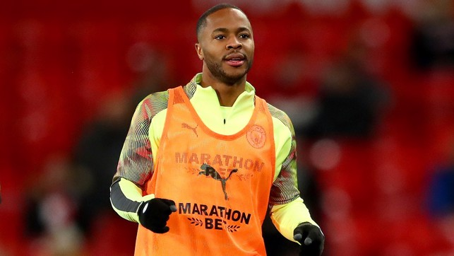 WARMING TO THE TASK: Raheem Sterling pre-match