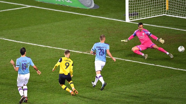 LEVELLER: Matty Taylor catches City cold seconds after the restart