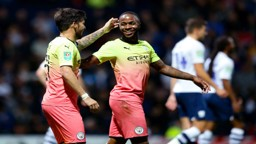 ALL SMILES: Sterling and Silva embrace during a dominant Carabao Cup performance at Deepdale