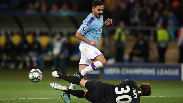 NOT THIS TIME: Ilkay Gundogan is denied by the Shakhtar keeper