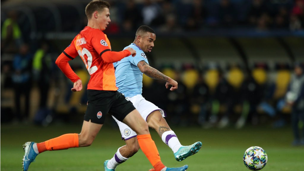 THREE CHEERS: Gabriel Jesus is on the mark to fire home our third goal