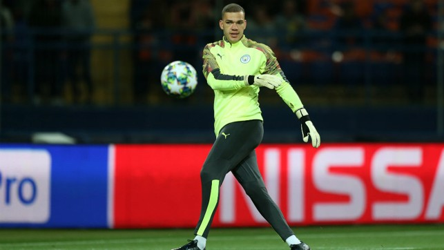 GLOVE STORY:  Ederson goes through his warm-up paces