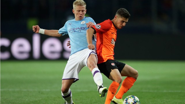 THEY SHALL NOT PASS: Oleks Zinchenko looks to block a Shakhtar move