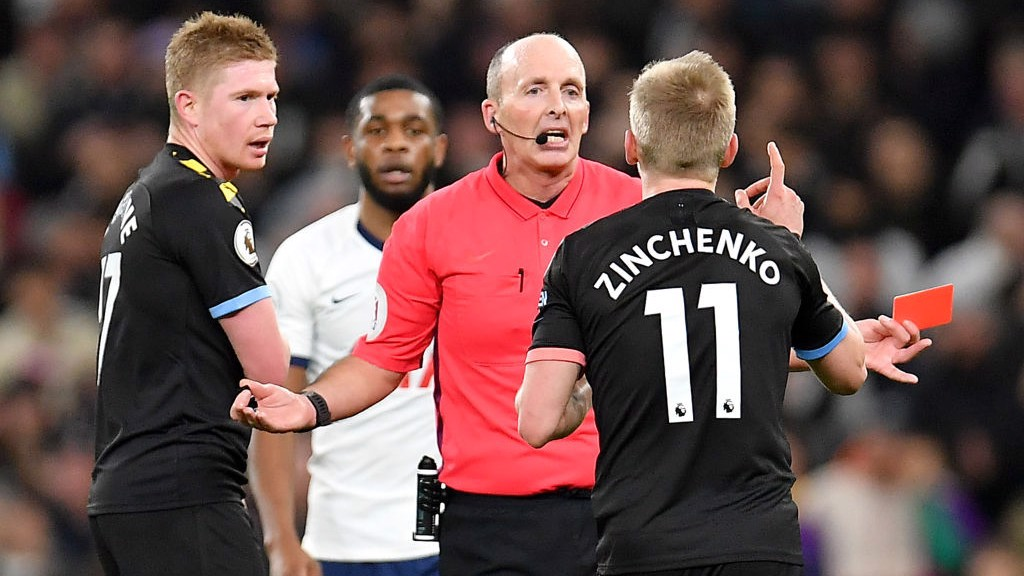 EARLY BATH: Zinchenko is sent off for his second bookable offence.