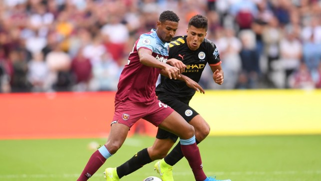 PATROLLING: Rodri gets his first taste of the Premier League.