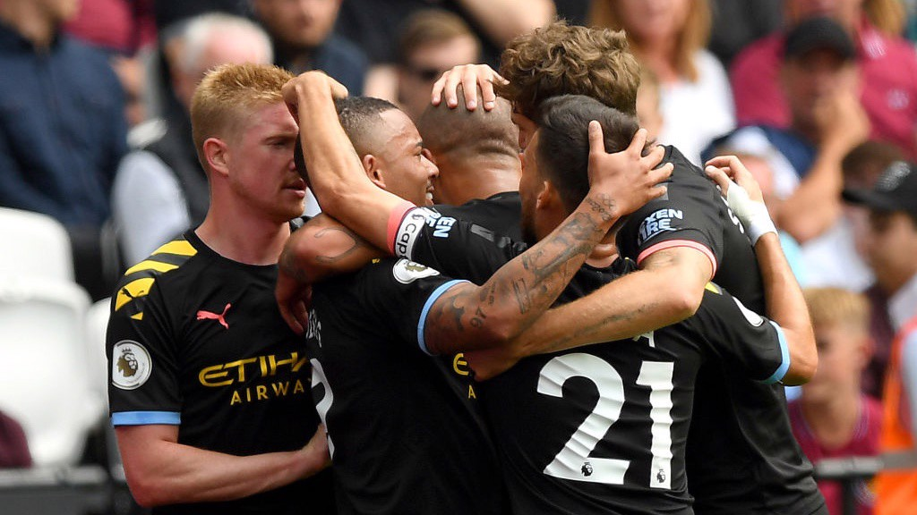 BREAKTHROUGH: City celebrate Gabriel Jesus' opener.