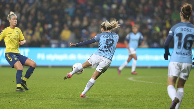 STRIKE: Toni Duggan opens the scoring with a perfectly-executed volley