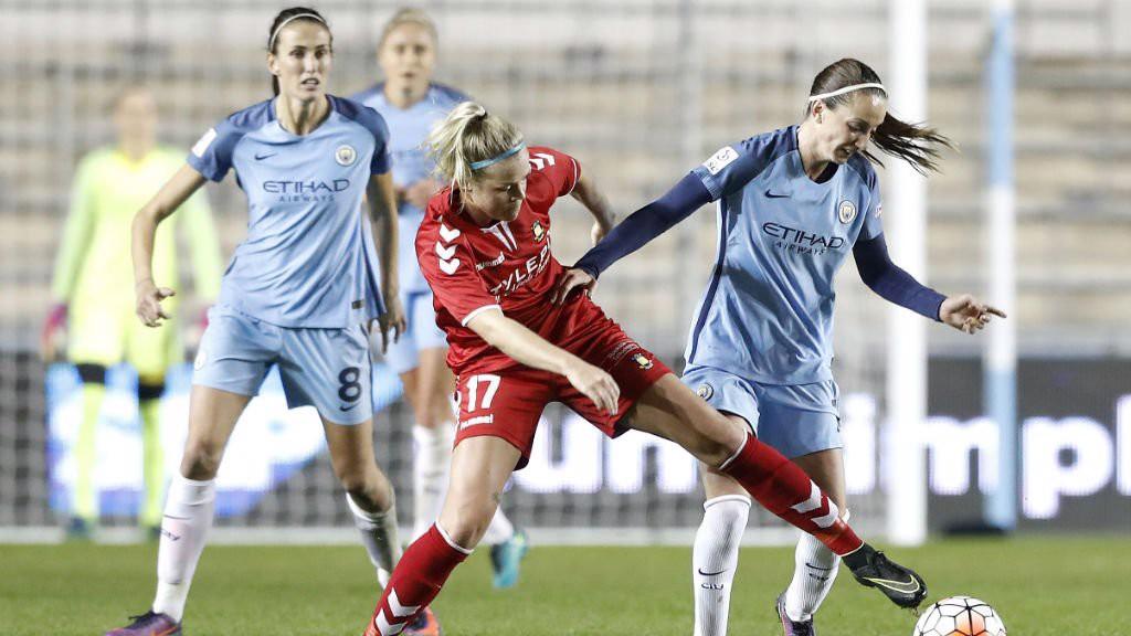 BATTLE: Kosovare Asllani retains possession