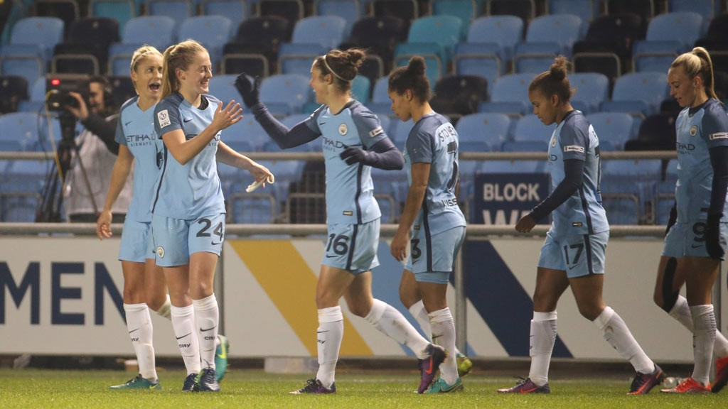 MAGIC MOMENT: Keira Walsh is mobbed after netting a stunning strike against Brondby IF