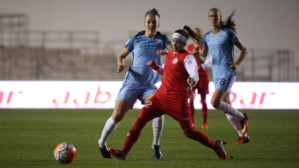 BRONZE METTLE: Lucy Bronze attempts to win the ball back