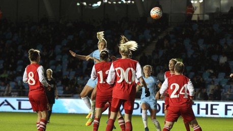 SUPER SKIPPER: Steph Houghton strikes the woodwork with a header