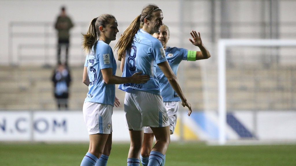 GREAT SCOTT: Jill Scott is congratulated on her stunning goal