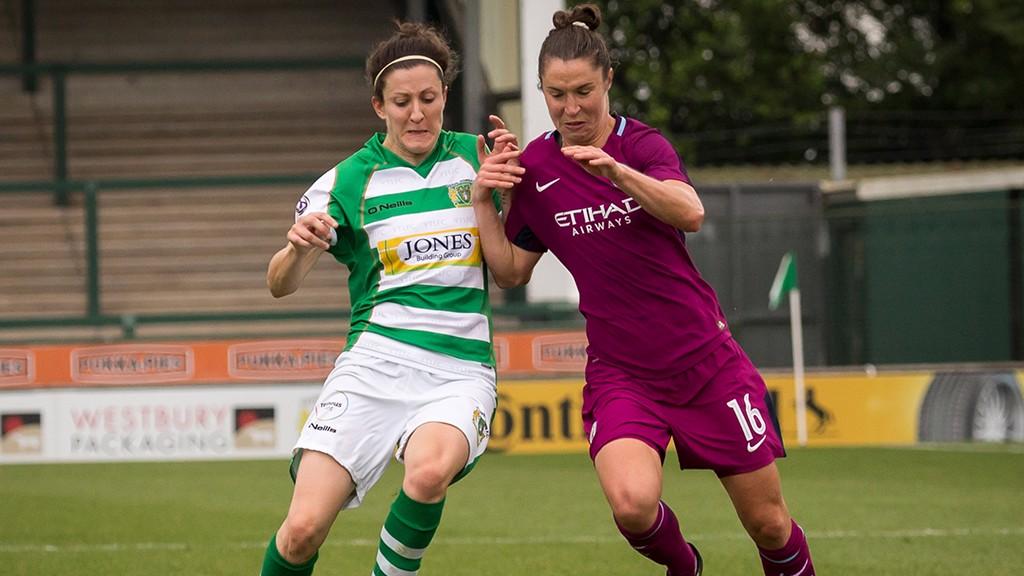 BATTLE: Jane Ross battles for the ball at Yeovil
