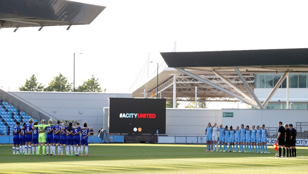 A City United: Both sides came together for a perfectly observed minutes silence prior to kick-off