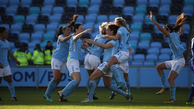 BEATS THAT: Scenes of joy as the team celebrate Jen Beattie's winner