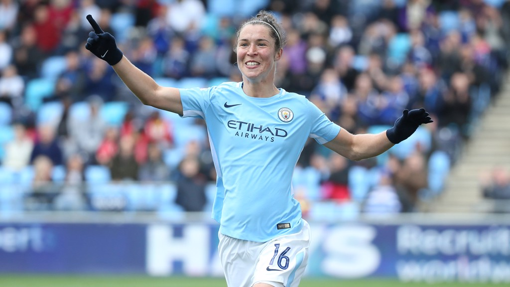 RAMPANT ROSS: Jane Ross enjoys her second goal in two games