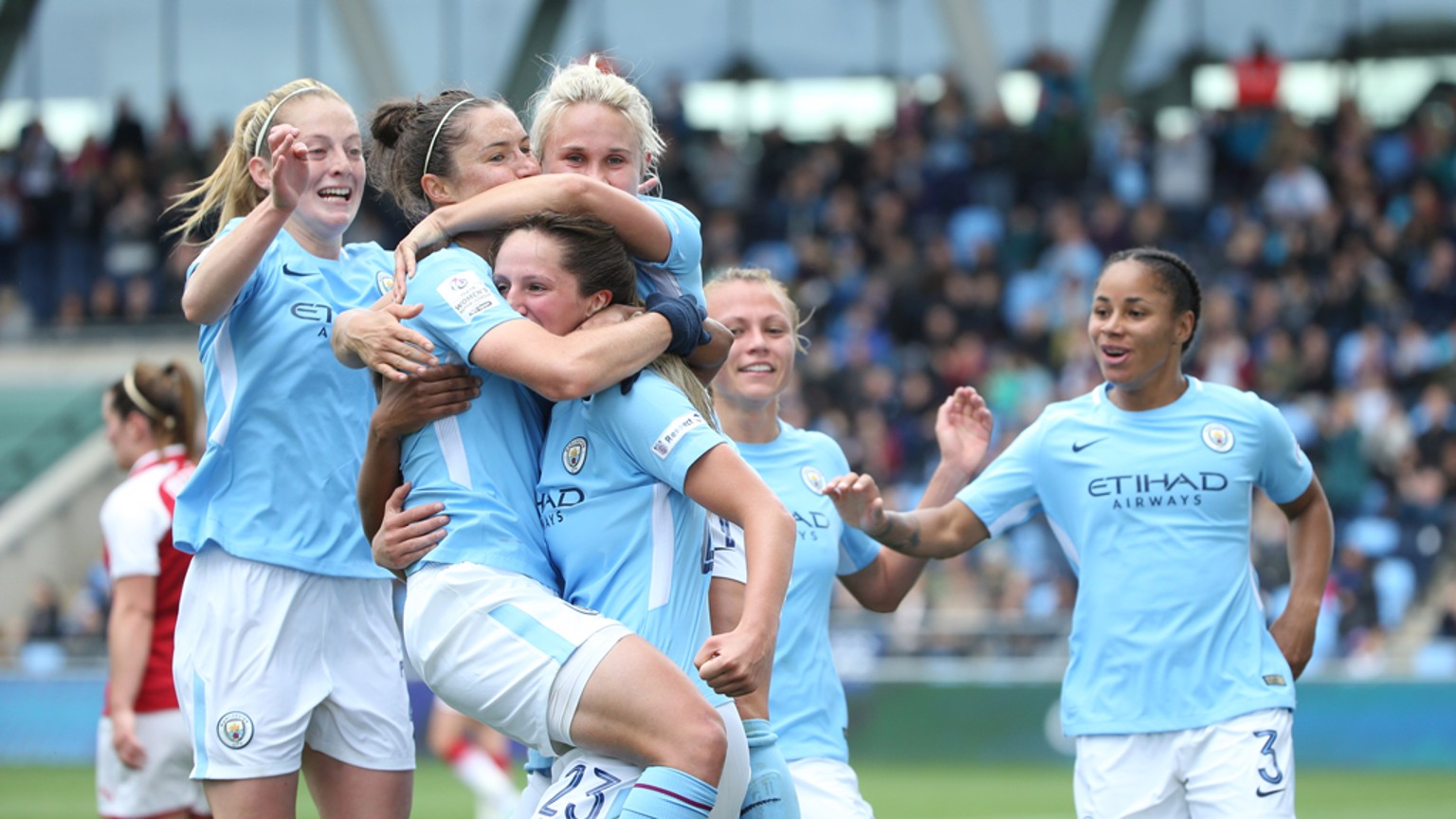 FIVE STAR CITY: The team celebrate Jane Ross' goal