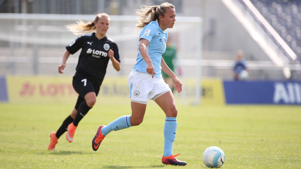 WING PLAY: Claire Emslie drives at the Frankfurt defence