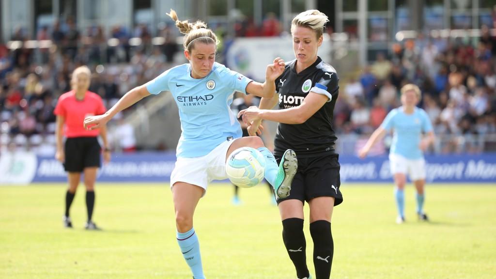 BATTLE: Ella Toone controls the ball under pressure