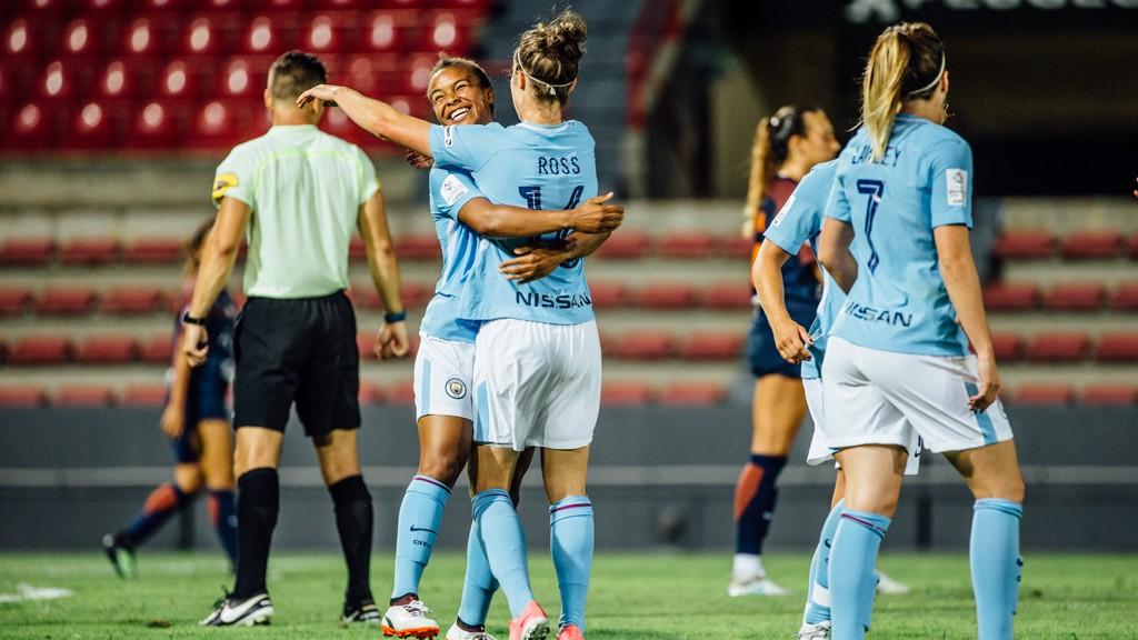 JANE JOY: Nikita Parris congratulates Jane Ross  on her goal