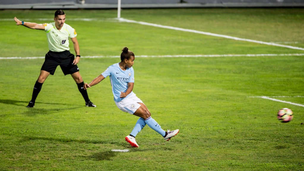 SPOT KICK: Nikita Parris' penalty is saved by Meline Gerard