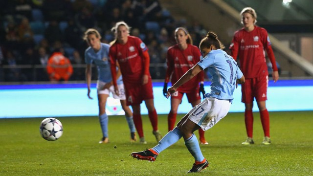ON THE SPOT: Nikita Parris converts against Linkoping.