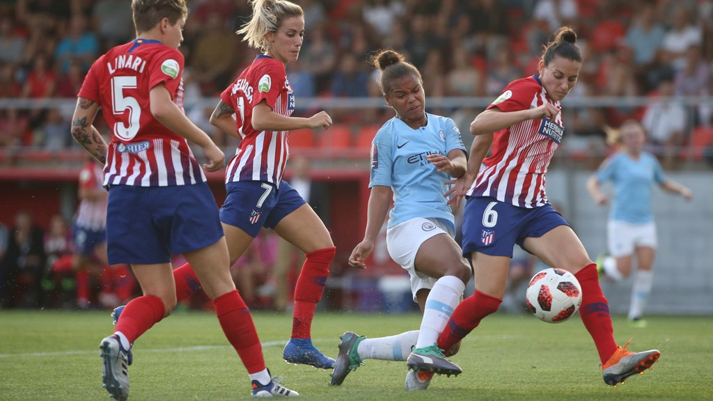 STRIKE: Nikita Parris sees an effort blocked