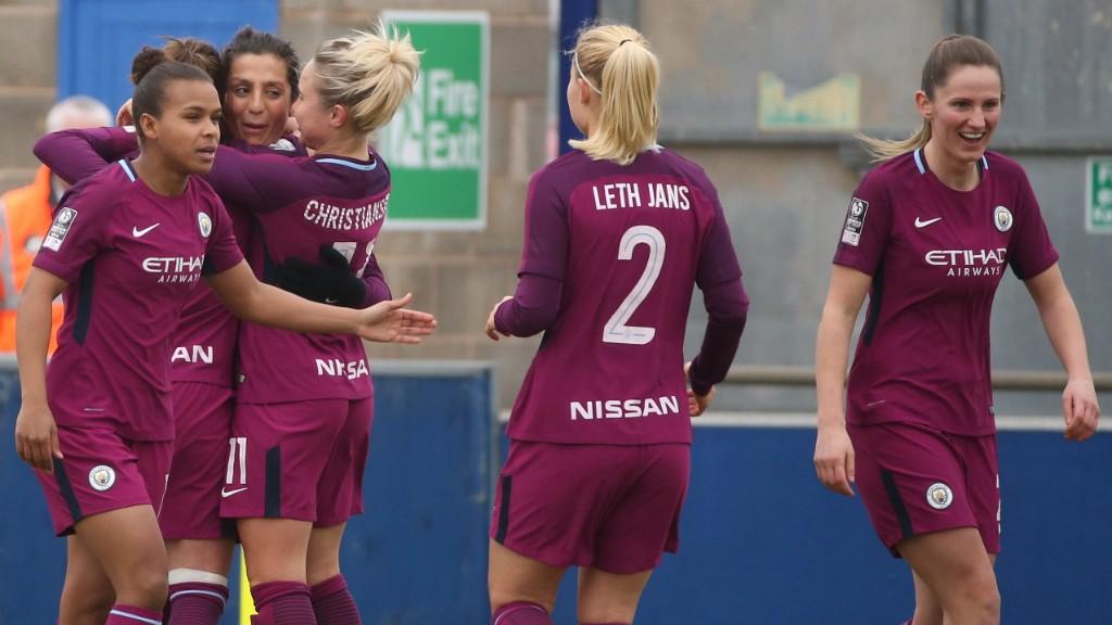 FA CUP FEVER: The team congratulate Nadia Nadim on her third City goal