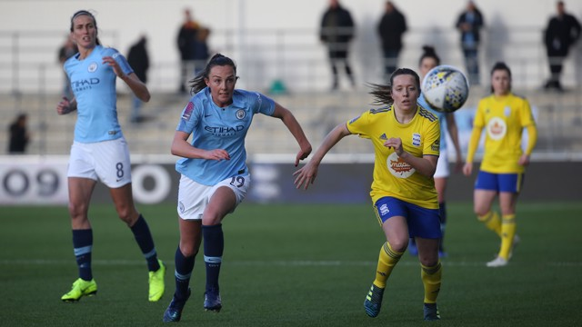 ACTION SHOT: Caroline Weir races for the ball.