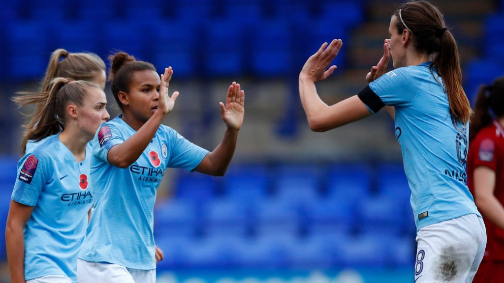 TEAMMATES: Nikita Parris thanks her fellow players.