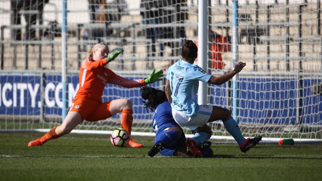 EFFORT: Nikita Parris's near post shot is saved by Hedvig Lindahl
