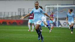 BRACE: Nikita Parris celebrates after scoring her second goal.