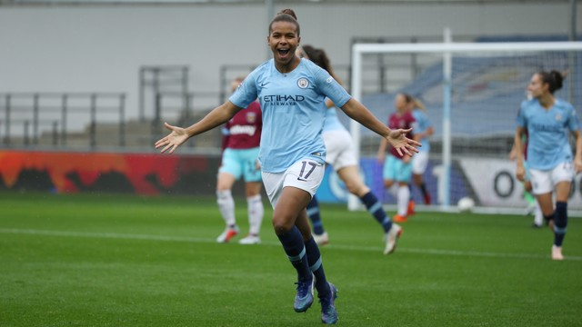 BRACE: Nikita Parris celebrates after scoring her second goal.