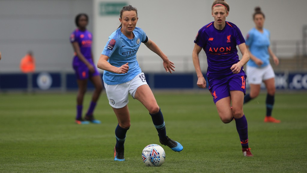FORWARD MARCH: Caroline Weir looks to get City on the front foot against Liverpool