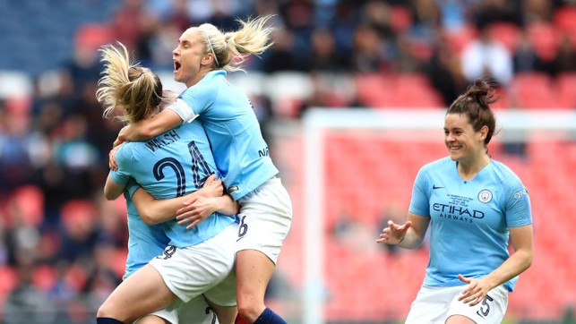 City celebrate taking the lead in the FAWC Final