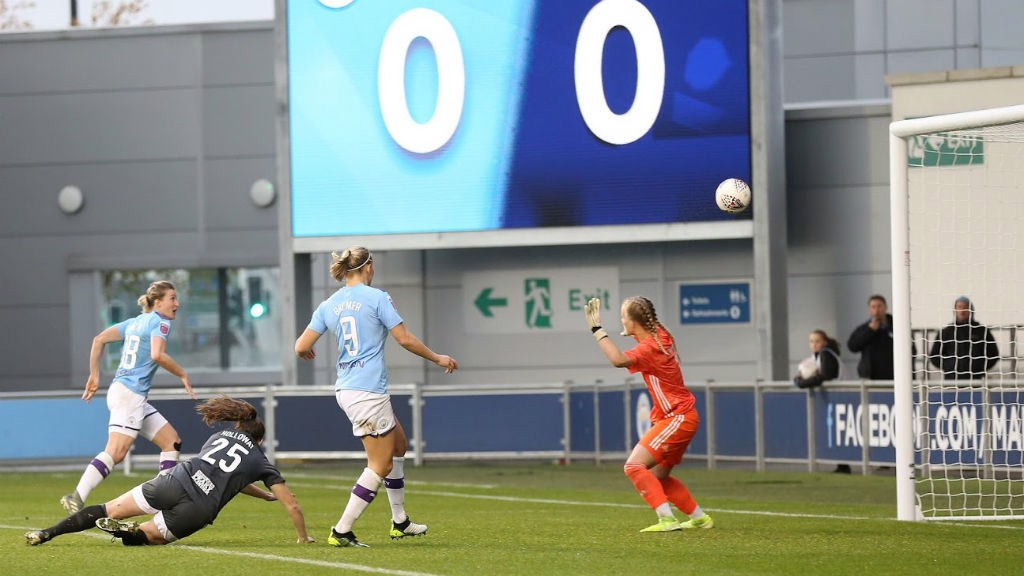 FIRST STRIKE: Ellen White fires home her first goal in City colours